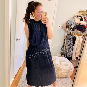 NWT Charles Henry Navy Blue Mini Pleat MIDI Dress